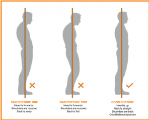 A diagram showing the visual differences between bad and good posture.